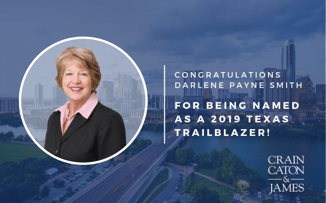 Darlene Payne Smith Recognized as a 2019 Texas Trailblazer